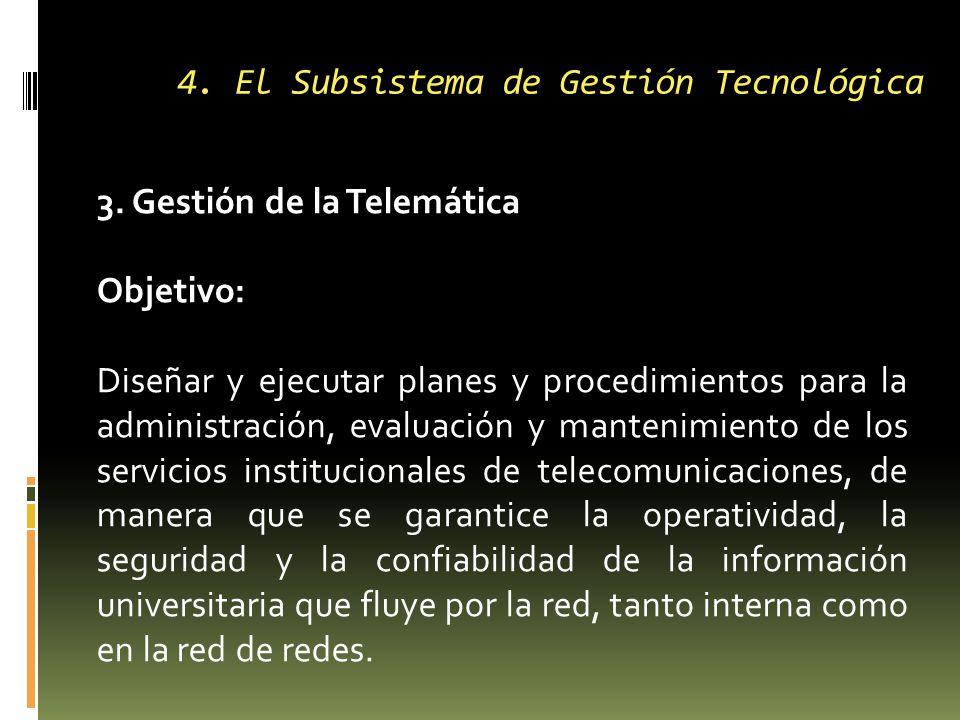4. El Subsistema de Gestión Tecnológica 3.