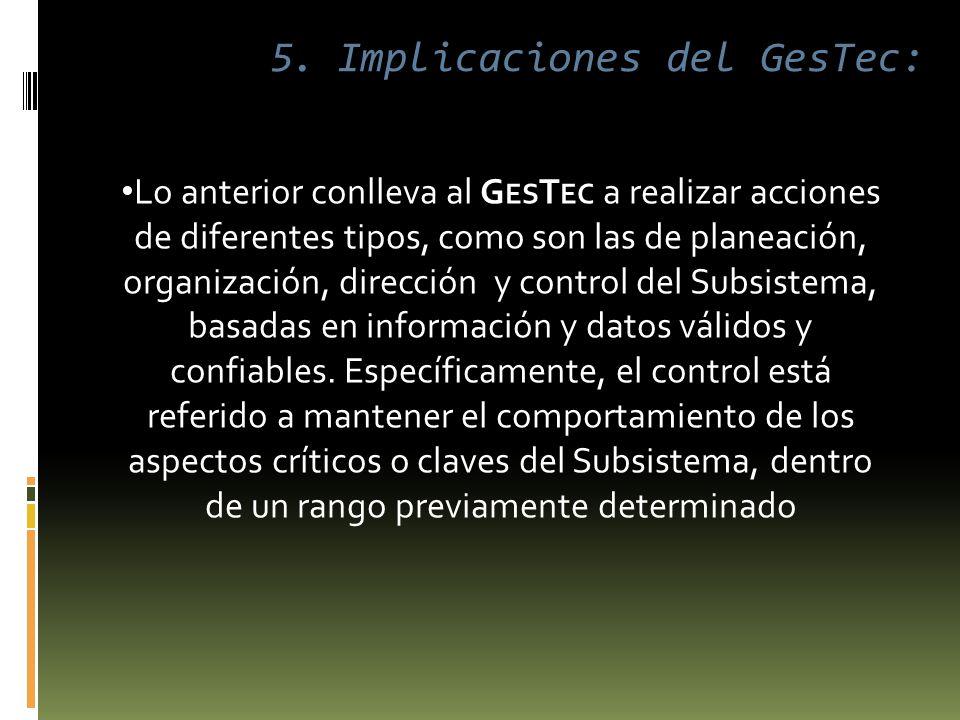 Lo anterior conlleva al G ES T EC a realizar acciones de diferentes tipos, como son las de planeación, organización, dirección y control del Subsistema, basadas en información y datos válidos y confiables.