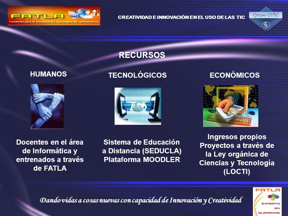 CREATIVIDAD E INNOVACIÓN EN EL USO DE LAS TIC Dando vidas a cosas nuevas con capacidad de Innovación y Creatividad RECURSOS HUMANOS Docentes en el área de Informática y entrenados a través de FATLA TECNOLÓGICOS Sistema de Educación a Distancia (SEDUCLA) Plataforma MOODLER ECONÓMICOS Ingresos propios Proyectos a través de la Ley orgánica de Ciencias y Tecnología (LOCTI)