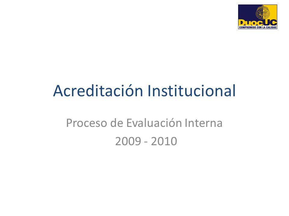 Acreditación Institucional Proceso de Evaluación Interna 2009 - 2010