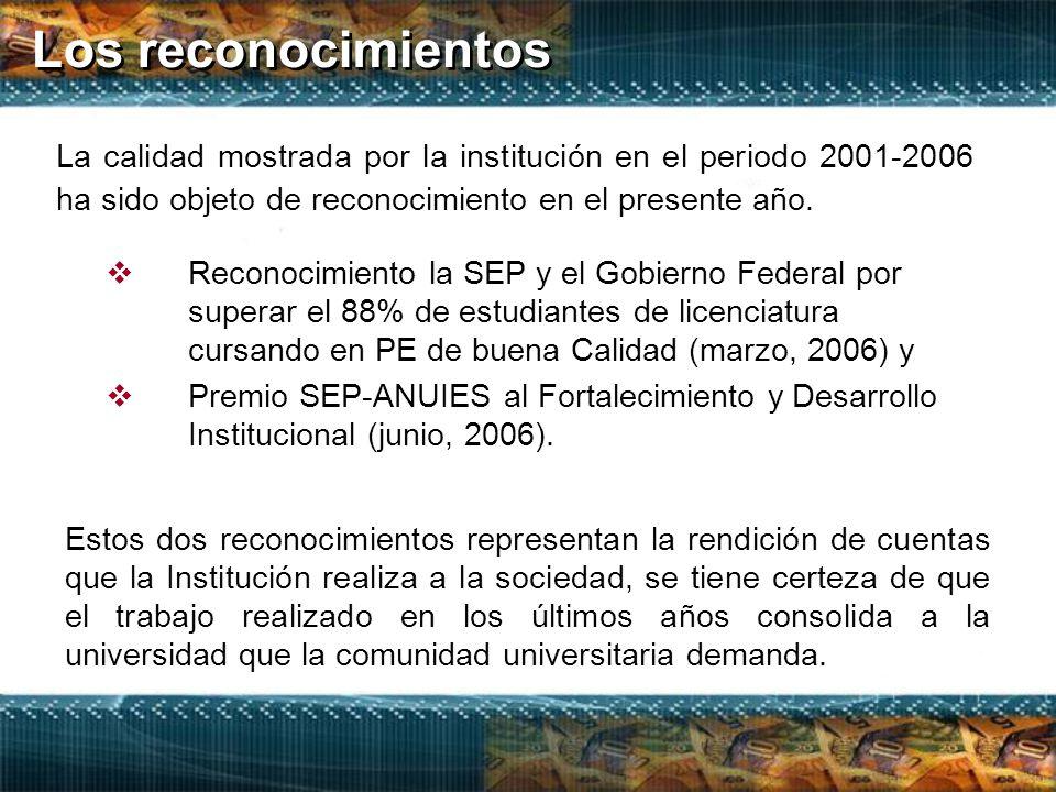 Los reconocimientos  Reconocimiento la SEP y el Gobierno Federal por superar el 88% de estudiantes de licenciatura cursando en PE de buena Calidad (marzo, 2006) y  Premio SEP-ANUIES al Fortalecimiento y Desarrollo Institucional (junio, 2006).