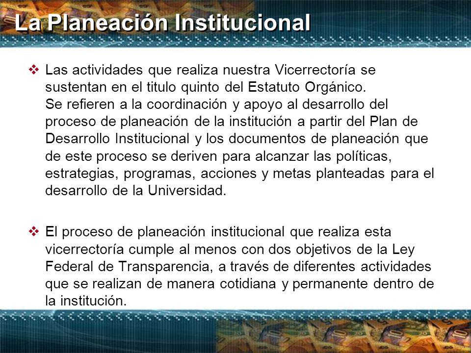 La Planeación Institucional  Las actividades que realiza nuestra Vicerrectoría se sustentan en el titulo quinto del Estatuto Orgánico.