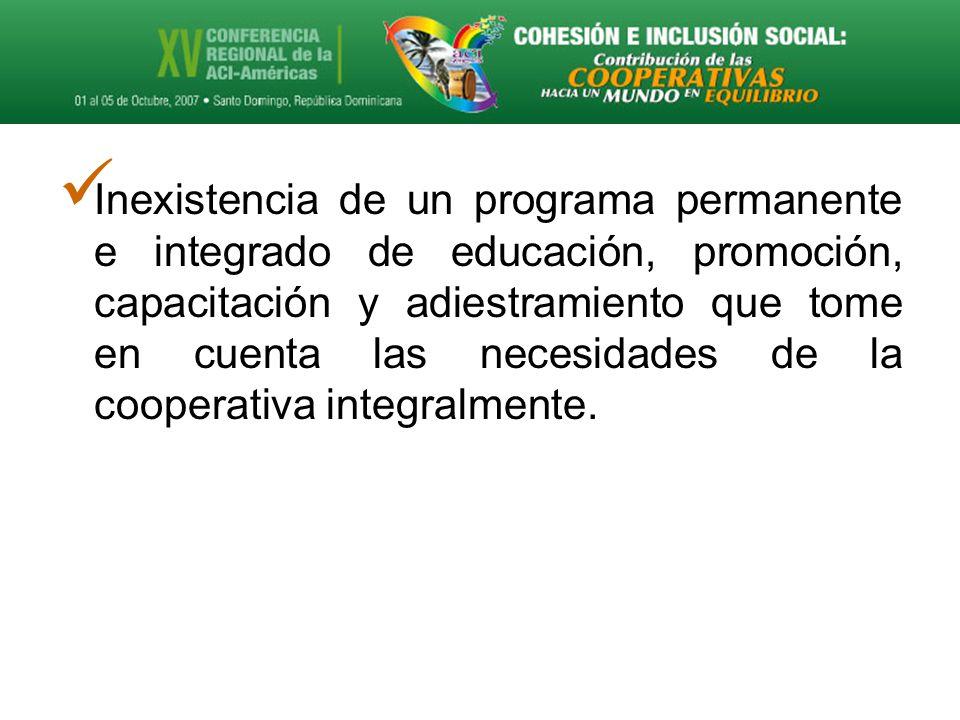 Inexistencia de un programa permanente e integrado de educación, promoción, capacitación y adiestramiento que tome en cuenta las necesidades de la cooperativa integralmente.