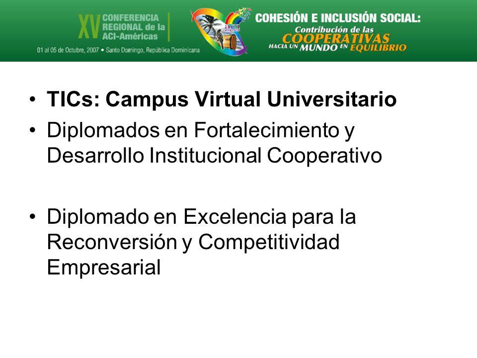 TICs: Campus Virtual Universitario Diplomados en Fortalecimiento y Desarrollo Institucional Cooperativo Diplomado en Excelencia para la Reconversión y Competitividad Empresarial