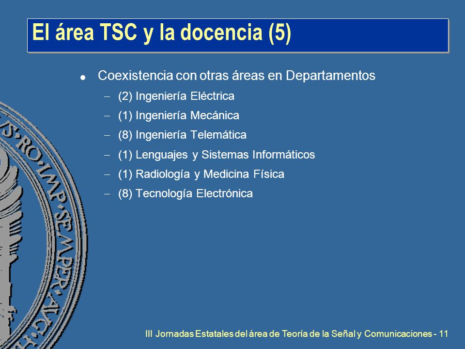 III Jornadas Estatales del área de Teoría de la Señal y Comunicaciones - 11 El área TSC y la docencia (5) l Coexistencia con otras áreas en Departamentos  (2) Ingeniería Eléctrica  (1) Ingeniería Mecánica  (8) Ingeniería Telemática  (1) Lenguajes y Sistemas Informáticos  (1) Radiología y Medicina Física  (8) Tecnología Electrónica