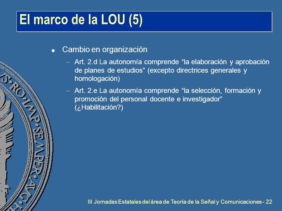 III Jornadas Estatales del área de Teoría de la Señal y Comunicaciones - 22 El marco de la LOU (5) l Cambio en organización  Art.
