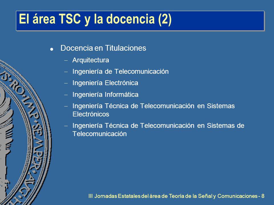 III Jornadas Estatales del área de Teoría de la Señal y Comunicaciones - 8 El área TSC y la docencia (2) l Docencia en Titulaciones  Arquitectura  Ingeniería de Telecomunicación  Ingeniería Electrónica  Ingeniería Informática  Ingeniería Técnica de Telecomunicación en Sistemas Electrónicos  Ingeniería Técnica de Telecomunicación en Sistemas de Telecomunicación