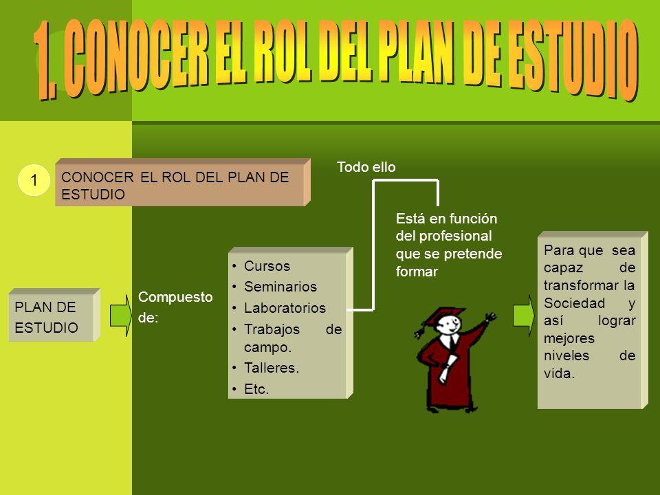 1 PLAN DE ESTUDIO Cursos Seminarios Laboratorios Trabajos de campo.