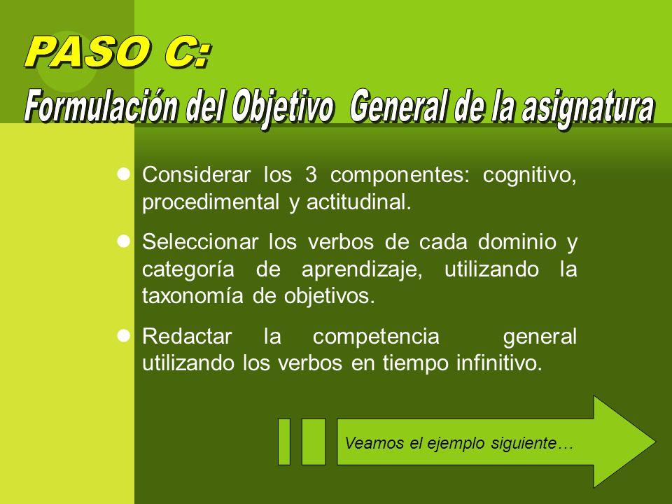 Considerar los 3 componentes: cognitivo, procedimental y actitudinal.