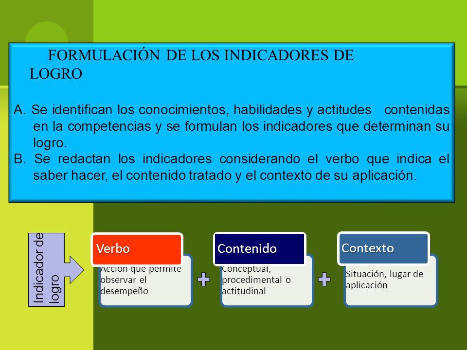 FORMULACIÓN DE LOS INDICADORES DE LOGRO A.