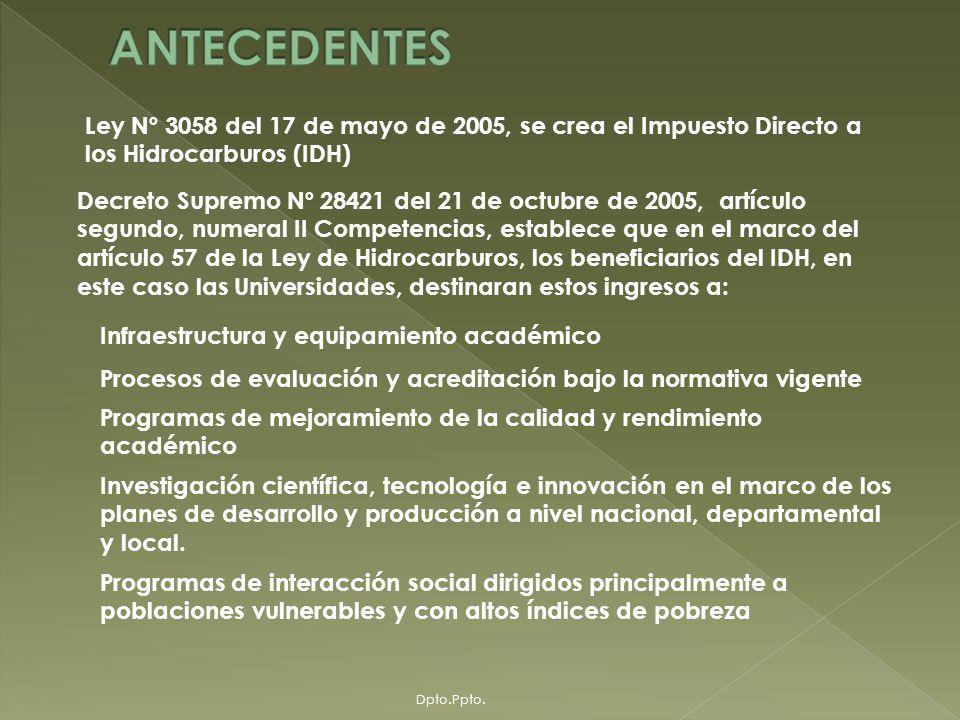 UNIVERSIDAD MAYOR DE SAN ANDRES DIRECCION ADMINISTRATIVA FINANCIERA DEPARTAMENTO DE PRESUPUESTO Y PLANIFICACION FINANCIERA GESTION RECTORAL 2007 – 2010: RECTORA : Dra.
