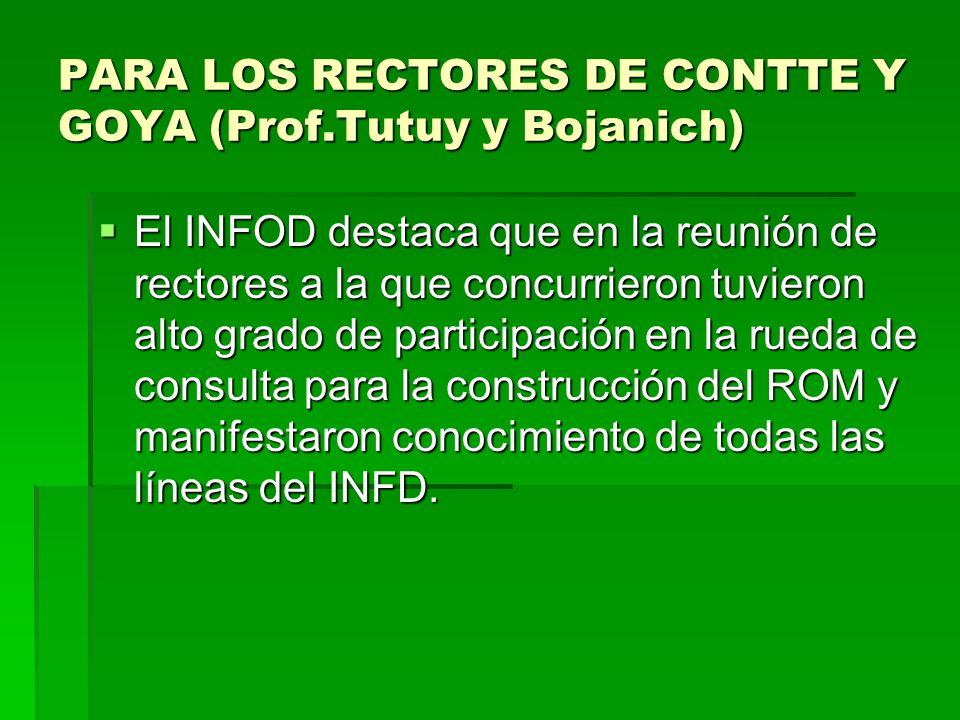PARA LOS RECTORES DE CONTTE Y GOYA (Prof.Tutuy y Bojanich)  El INFOD destaca que en la reunión de rectores a la que concurrieron tuvieron alto grado de participación en la rueda de consulta para la construcción del ROM y manifestaron conocimiento de todas las líneas del INFD.