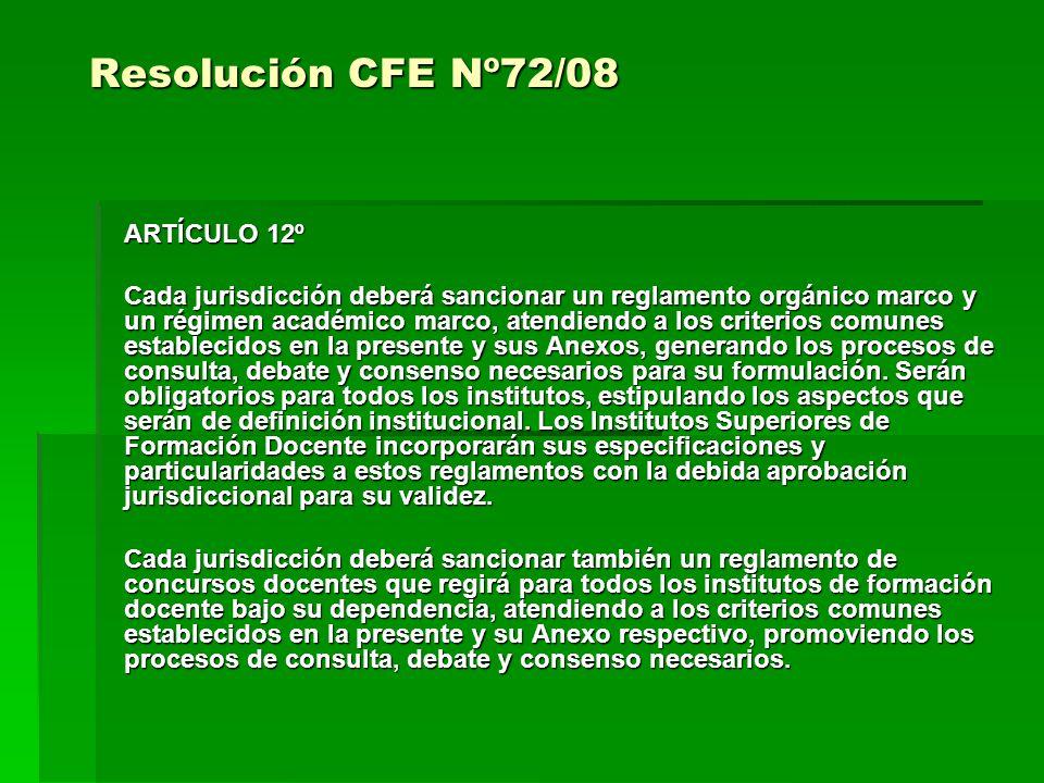 Resolución CFE Nº72/08 ARTÍCULO 12º Cada jurisdicción deberá sancionar un reglamento orgánico marco y un régimen académico marco, atendiendo a los criterios comunes establecidos en la presente y sus Anexos, generando los procesos de consulta, debate y consenso necesarios para su formulación.
