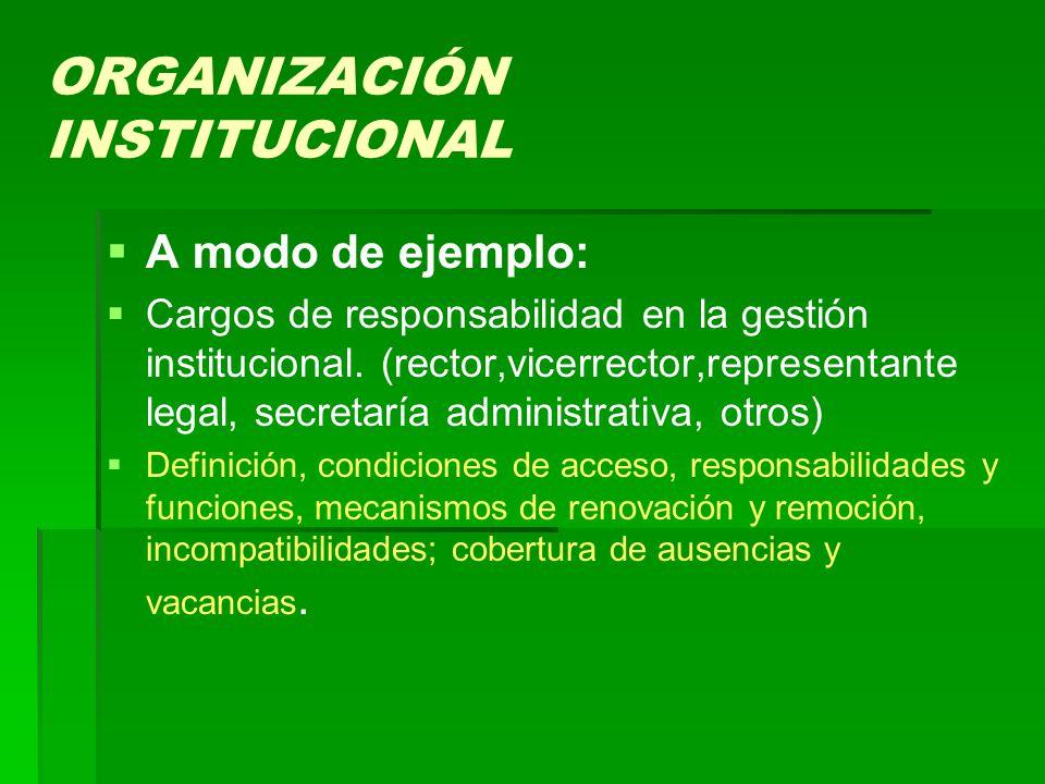 ORGANIZACIÓN INSTITUCIONAL   A modo de ejemplo:   Cargos de responsabilidad en la gestión institucional.