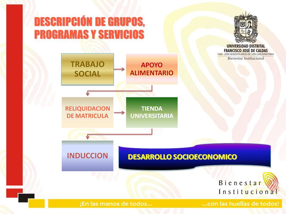 DESCRIPCIÓN DE GRUPOS, PROGRAMAS Y SERVICIOS DESARROLLO SOCIOECONOMICO