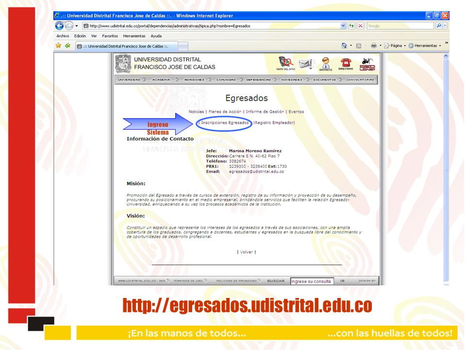 http://egresados.udistrital.edu.co Ingreso Sistema