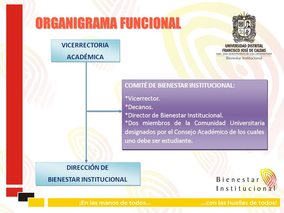 ORGANIGRAMA FUNCIONAL COMITÉ DE BIENESTAR INSTITUCIONAL: *Vicerrector.