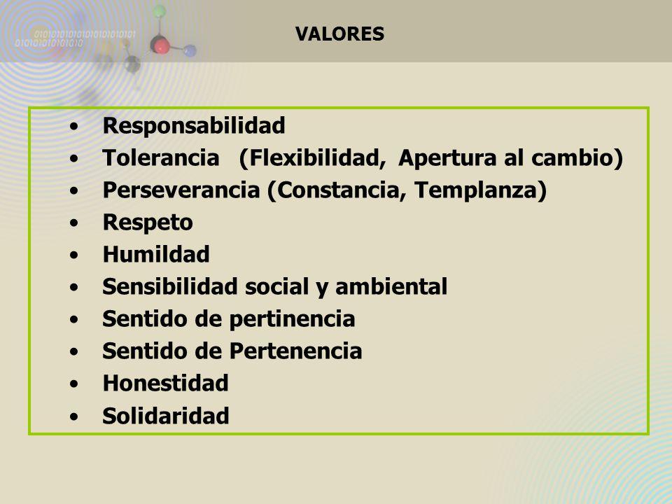 VALORES Responsabilidad Tolerancia (Flexibilidad, Apertura al cambio) Perseverancia (Constancia, Templanza) Respeto Humildad Sensibilidad social y ambiental Sentido de pertinencia Sentido de Pertenencia Honestidad Solidaridad