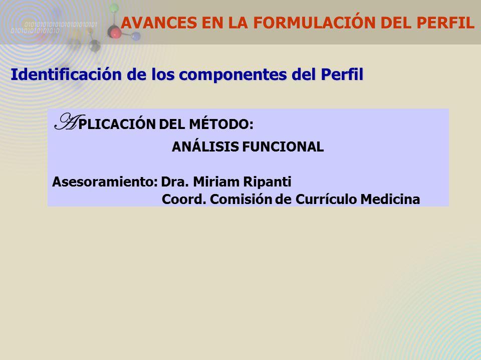AVANCES EN LA FORMULACIÓN DEL PERFIL Identificación de los componentes del Perfil A PLICACIÓN DEL MÉTODO: ANÁLISIS FUNCIONAL Asesoramiento: Dra.