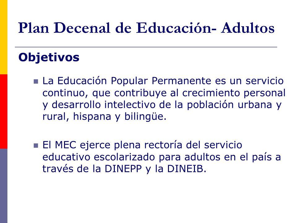 Plan Decenal de Educación- Adultos Objetivos La Educación Popular Permanente es un servicio continuo, que contribuye al crecimiento personal y desarrollo intelectivo de la población urbana y rural, hispana y bilingüe.