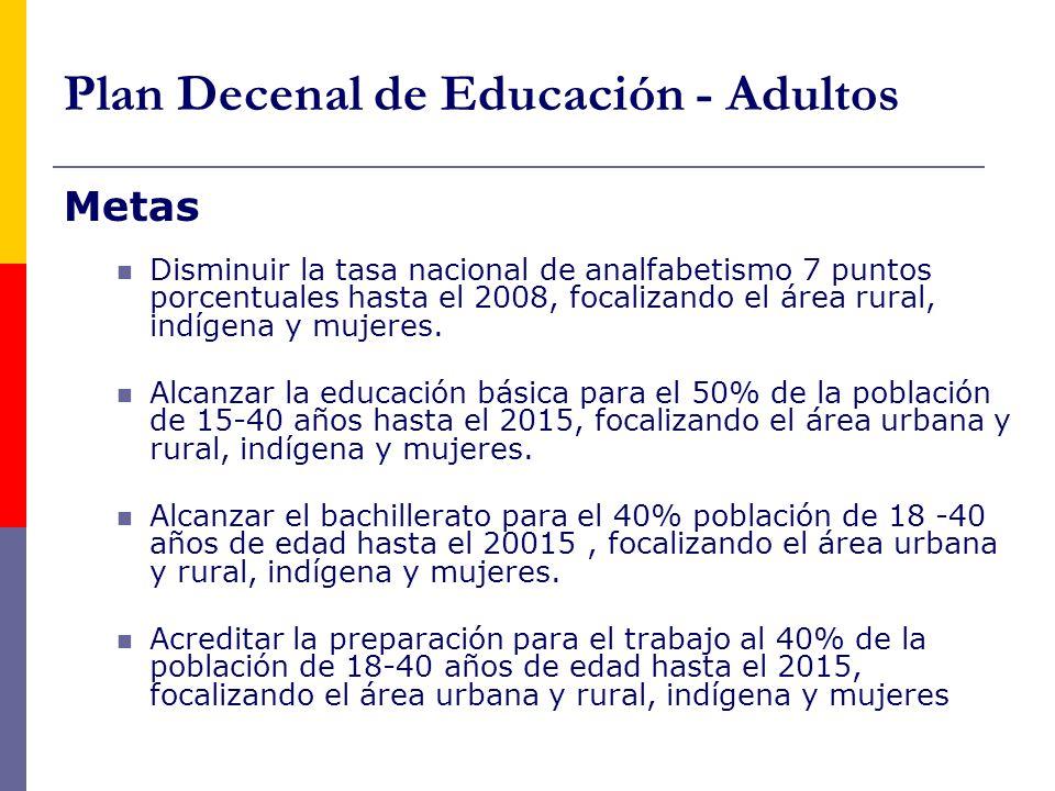Plan Decenal de Educación - Adultos Metas Disminuir la tasa nacional de analfabetismo 7 puntos porcentuales hasta el 2008, focalizando el área rural, indígena y mujeres.