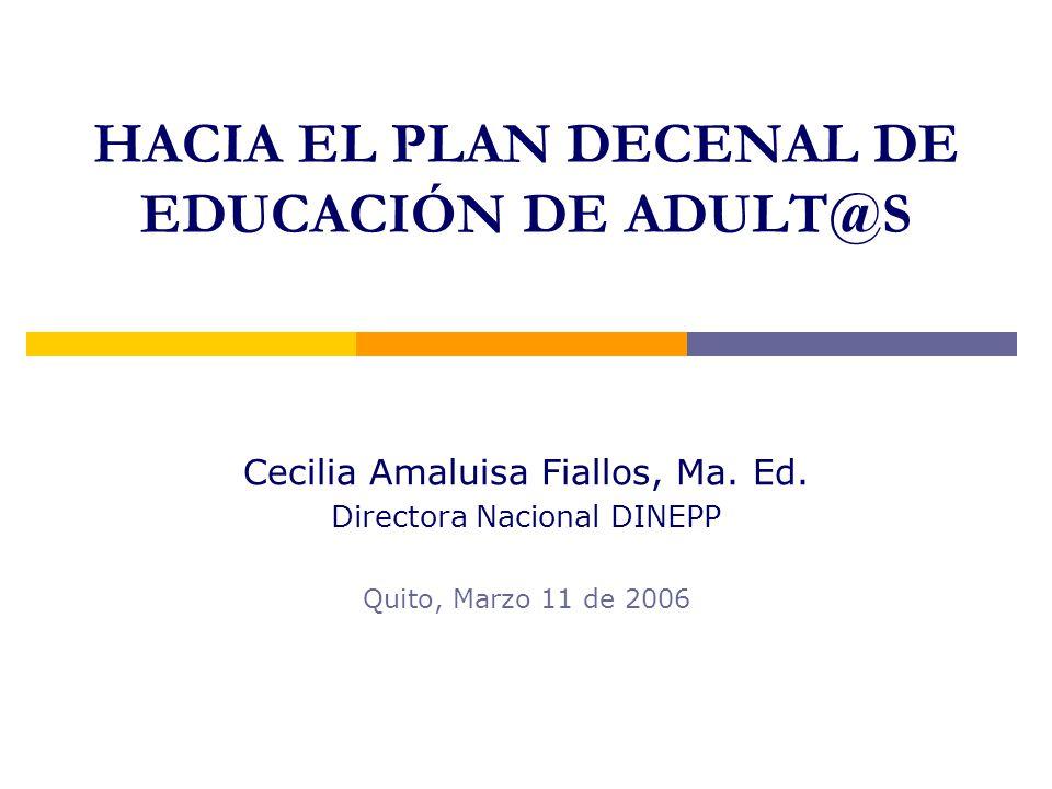 HACIA EL PLAN DECENAL DE EDUCACIÓN DE ADULT@S Cecilia Amaluisa Fiallos, Ma.