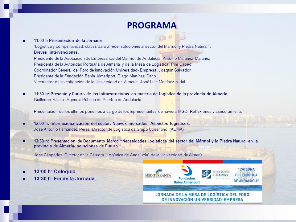 PROGRAMA 11:00 h Presentación de la Jornada Logística y competitividad: claves para ofrecer soluciones al sector del Mármol y Piedra Natural .