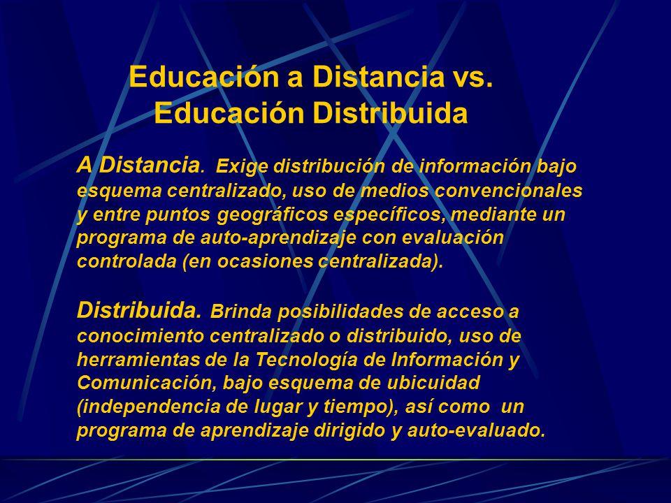 Educación a Distancia vs. Educación Distribuida A Distancia.