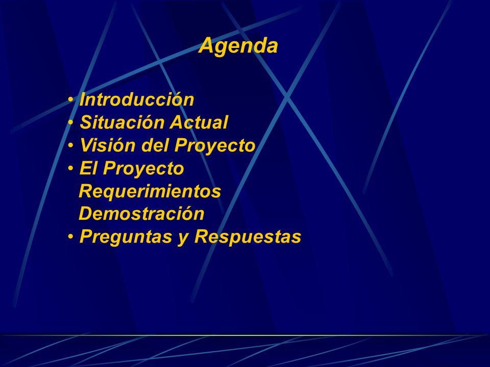 Agenda Introducción Situación Actual Visión del Proyecto El Proyecto Requerimientos Demostración Preguntas y Respuestas