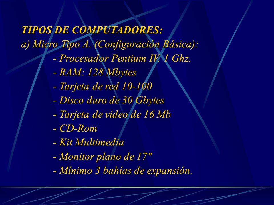 TIPOS DE COMPUTADORES: a) Micro Tipo A. (Configuración Básica): - Procesador Pentium IV.