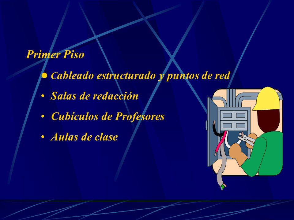 Primer Piso C ableado estructurado y puntos de red Salas de redacción Cubículos de Profesores Aulas de clase