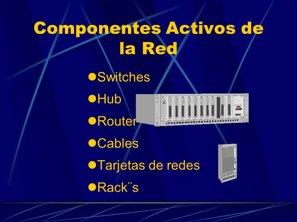 Componentes Activos de la Red Switches Hub Router Cables Tarjetas de redes Rack¨s