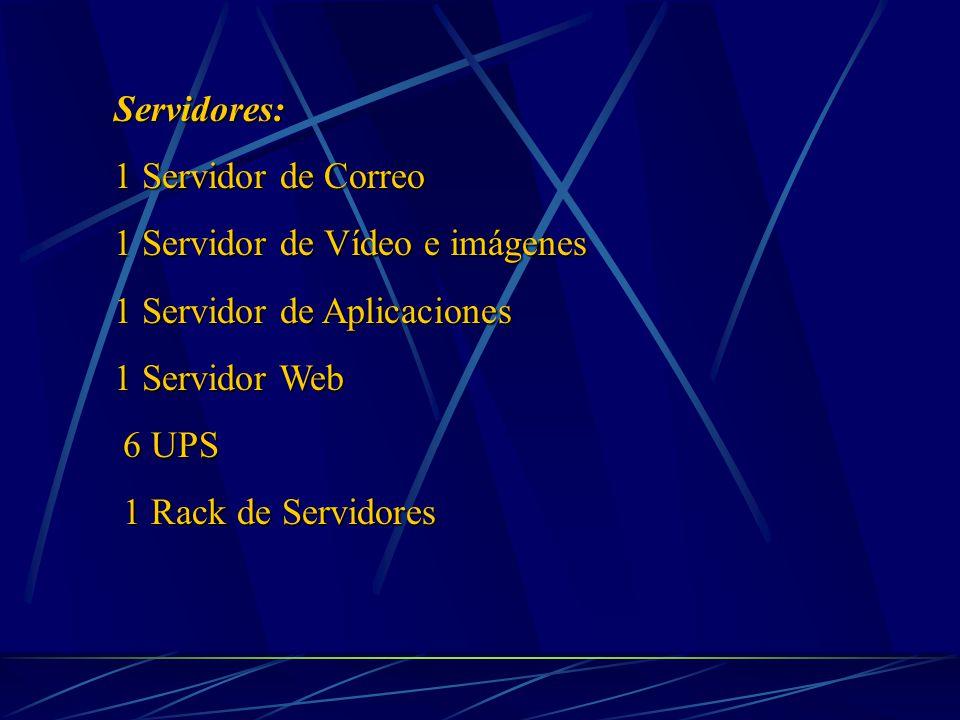 Servidores: 1 Servidor de Correo 1 Servidor de Vídeo e imágenes 1 Servidor de Aplicaciones 1 Servidor Web 6 UPS 6 UPS 1 Rack de Servidores 1 Rack de Servidores