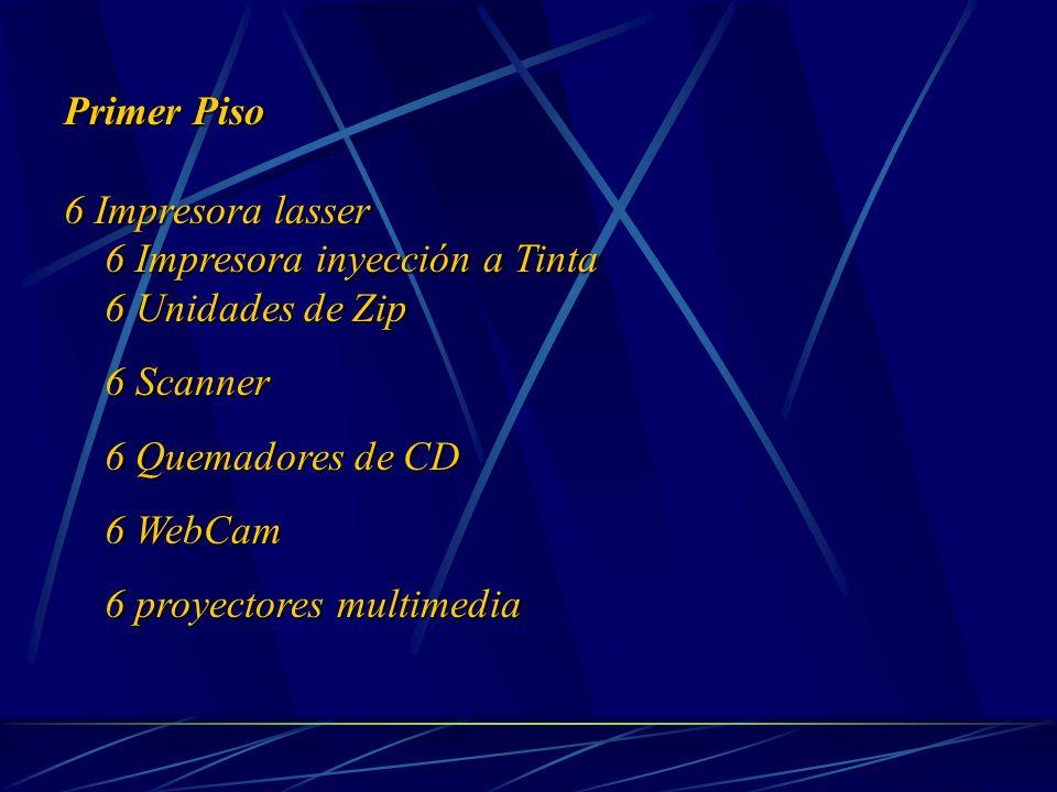 Primer Piso 6 Impresora lasser 6 Impresora inyección a Tinta 6 Impresora inyección a Tinta 6 Unidades de Zip 6 Unidades de Zip 6 Scanner 6 Scanner 6 Quemadores de CD 6 Quemadores de CD 6 WebCam 6 WebCam 6 proyectores multimedia 6 proyectores multimedia