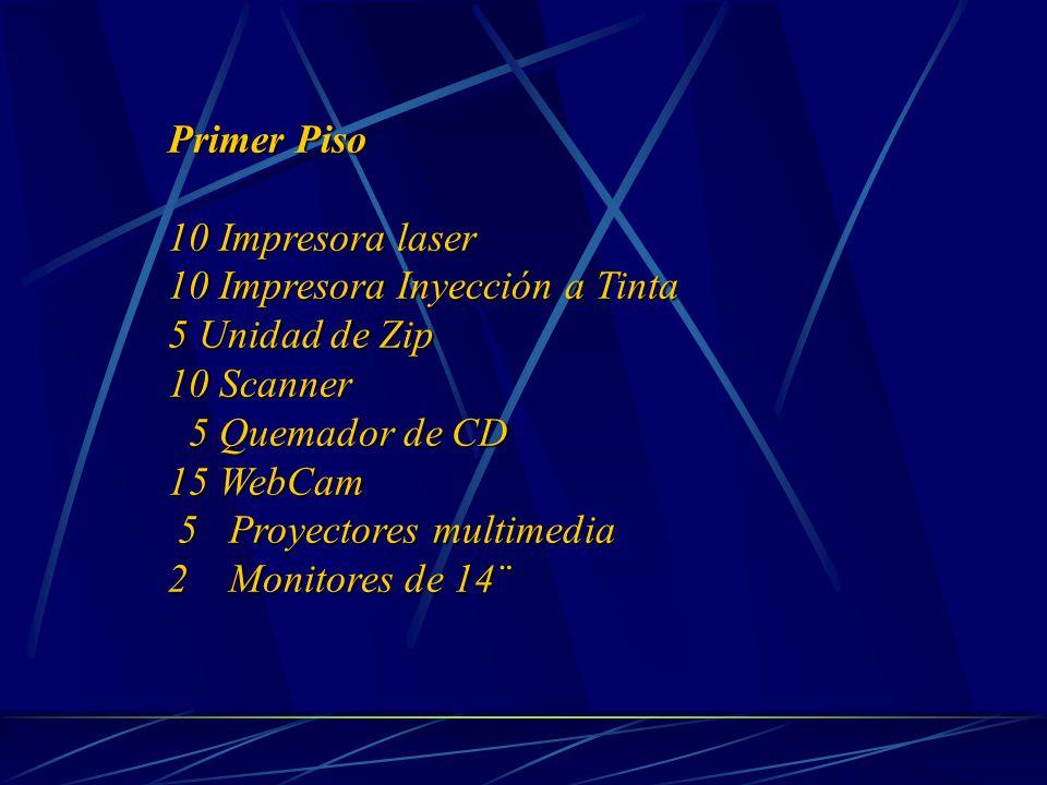 Primer Piso 10 Impresora laser 10 Impresora Inyección a Tinta 5 Unidad de Zip 10 Scanner 5 Quemador de CD 5 Quemador de CD 15 WebCam 5 Proyectores multimedia 5 Proyectores multimedia 2 Monitores de 14¨ 2 Monitores de 14¨