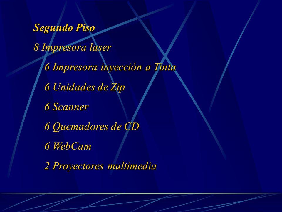Segundo Piso 8 Impresora laser 6 Impresora inyección a Tinta 6 Impresora inyección a Tinta 6 Unidades de Zip 6 Unidades de Zip 6 Scanner 6 Scanner 6 Quemadores de CD 6 Quemadores de CD 6 WebCam 6 WebCam 2 Proyectores multimedia 2 Proyectores multimedia