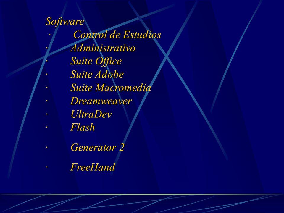 Software · Control de Estudios · Control de Estudios · Administrativo · Suite Office · Suite Adobe · Suite Macromedia · Dreamweaver · UltraDev · Flash · Generator 2 · FreeHand