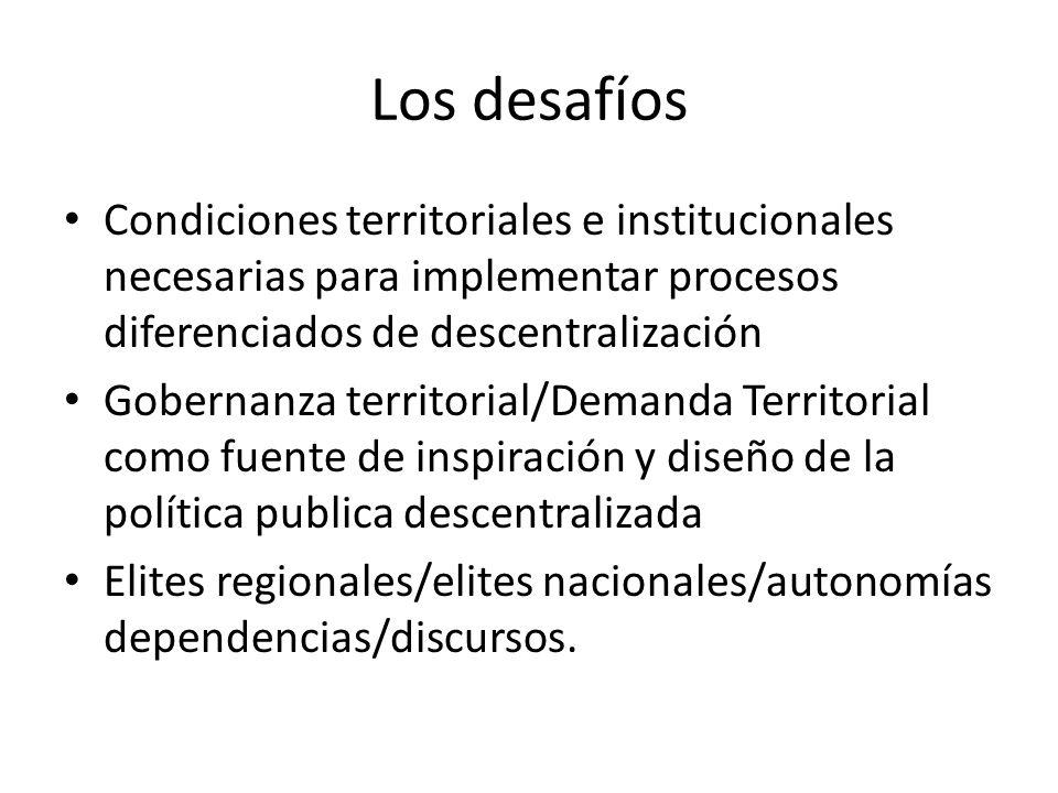 Los desafíos Condiciones territoriales e institucionales necesarias para implementar procesos diferenciados de descentralización Gobernanza territorial/Demanda Territorial como fuente de inspiración y diseño de la política publica descentralizada Elites regionales/elites nacionales/autonomías dependencias/discursos.