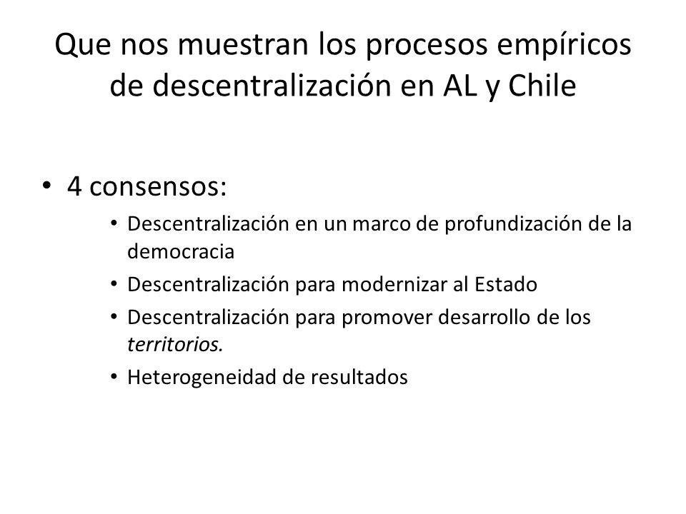 Que nos muestran los procesos empíricos de descentralización en AL y Chile 4 consensos: Descentralización en un marco de profundización de la democracia Descentralización para modernizar al Estado Descentralización para promover desarrollo de los territorios.