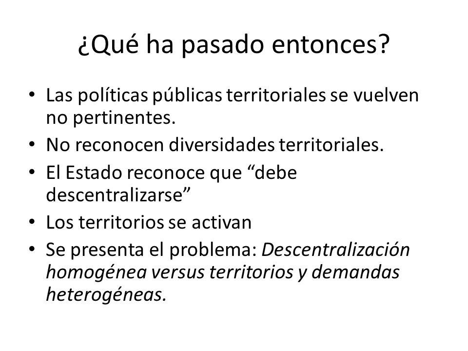 ¿Qué ha pasado entonces. Las políticas públicas territoriales se vuelven no pertinentes.