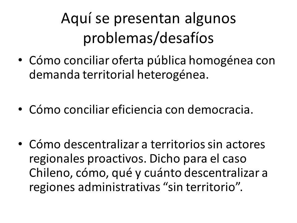 Aquí se presentan algunos problemas/desafíos Cómo conciliar oferta pública homogénea con demanda territorial heterogénea.