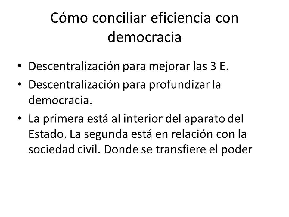 Cómo conciliar eficiencia con democracia Descentralización para mejorar las 3 E.