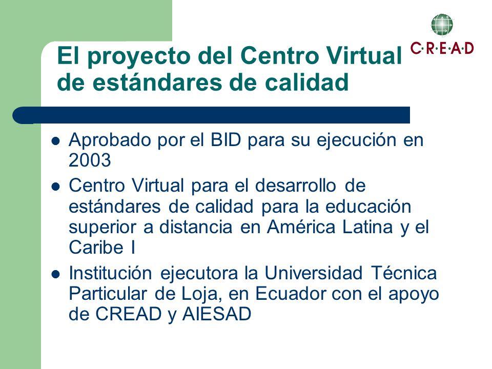 El proyecto del Centro Virtual de estándares de calidad Aprobado por el BID para su ejecución en 2003 Centro Virtual para el desarrollo de estándares de calidad para la educación superior a distancia en América Latina y el Caribe I Institución ejecutora la Universidad Técnica Particular de Loja, en Ecuador con el apoyo de CREAD y AIESAD