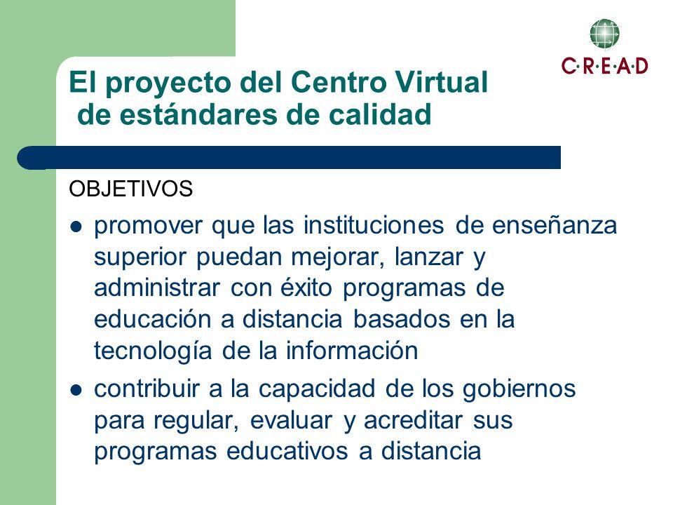 El proyecto del Centro Virtual de estándares de calidad OBJETIVOS promover que las instituciones de enseñanza superior puedan mejorar, lanzar y administrar con éxito programas de educación a distancia basados en la tecnología de la información contribuir a la capacidad de los gobiernos para regular, evaluar y acreditar sus programas educativos a distancia