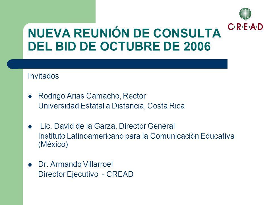 NUEVA REUNIÓN DE CONSULTA DEL BID DE OCTUBRE DE 2006 Invitados Rodrigo Arias Camacho, Rector Universidad Estatal a Distancia, Costa Rica Lic.