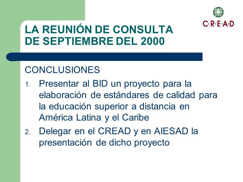 LA REUNIÓN DE CONSULTA DE SEPTIEMBRE DEL 2000 CONCLUSIONES 1.