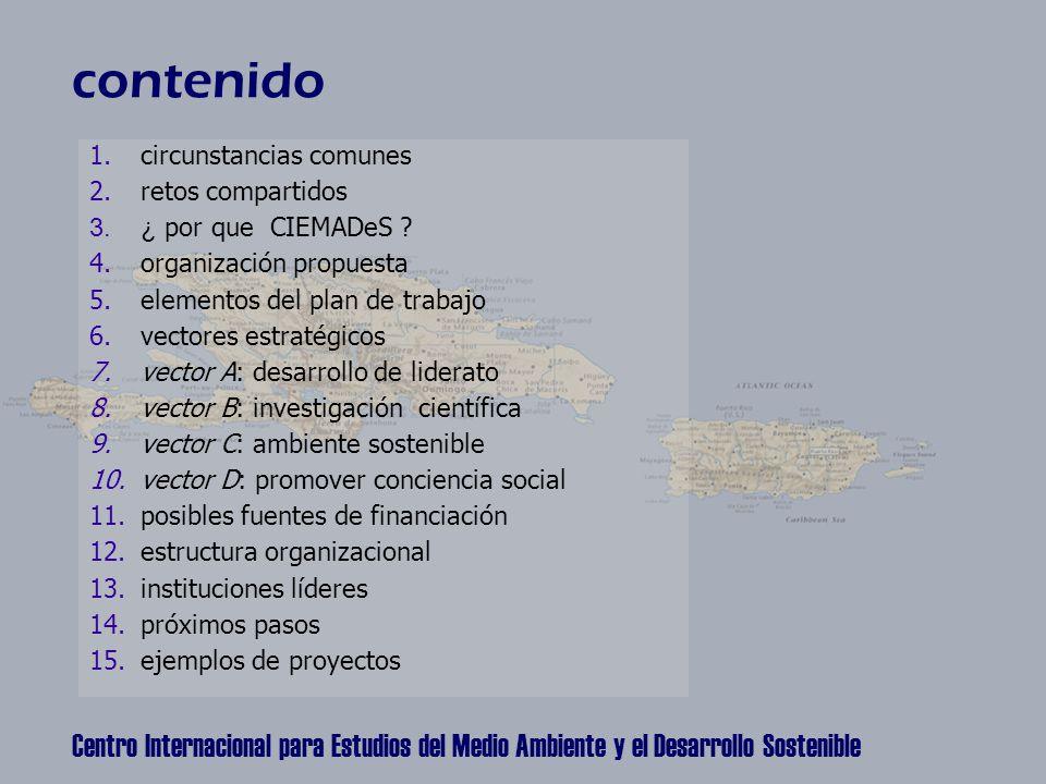 Centro Internacional para Estudios del Medio Ambiente y el Desarrollo Sostenible contenido 1.circunstancias comunes 2.retos compartidos 3.¿ por que CIEMADeS .
