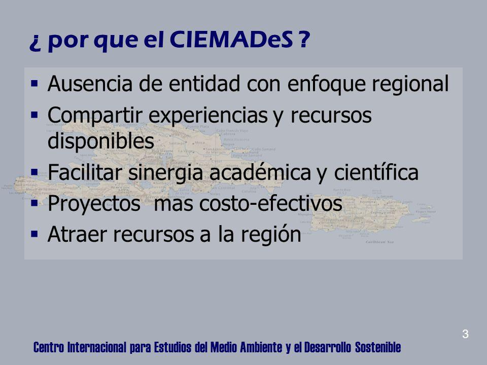 Centro Internacional para Estudios del Medio Ambiente y el Desarrollo Sostenible ¿ por que el CIEMADeS .