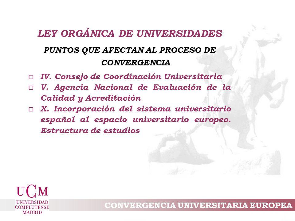 CONVERGENCIA UNIVERSITARIA EUROPEA LEY ORGÁNICA DE UNIVERSIDADES PUNTOS QUE AFECTAN AL PROCESO DE CONVERGENCIA o IV.