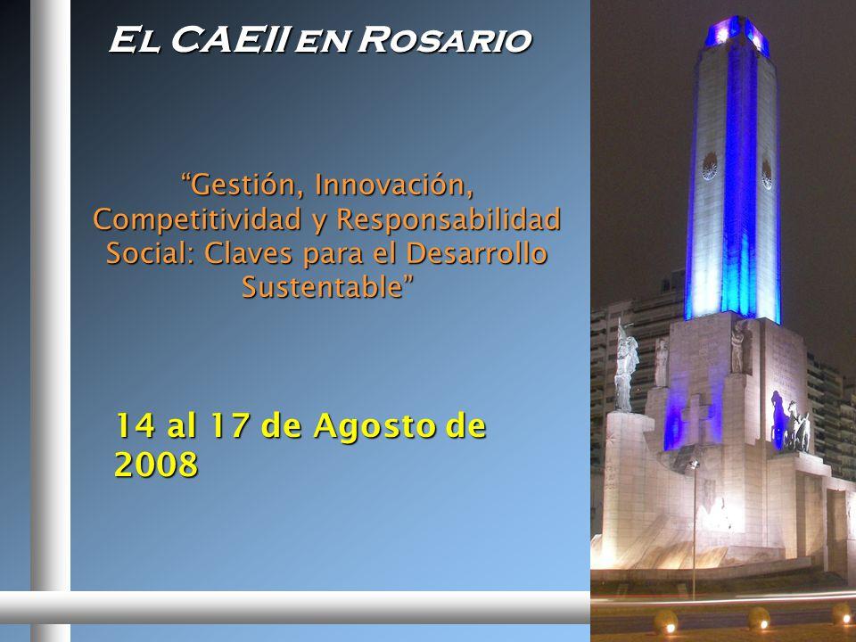 El CAEII en Rosario Gestión, Innovación, Competitividad y Responsabilidad Social: Claves para el Desarrollo Sustentable 14 al 17 de Agosto de 2008